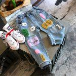quần bé gái màu chữ lỏng quần jean